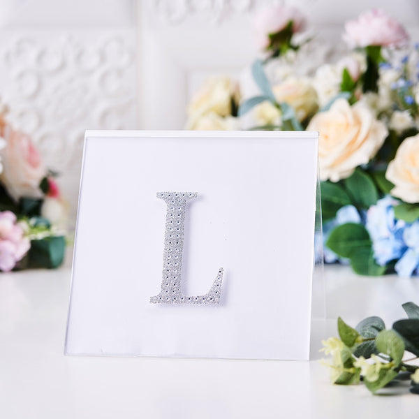 "4"" Silver Self-Adhesive Rhinestone Letter Stickers, Alphabet Stickers for DIY Crafts - L"