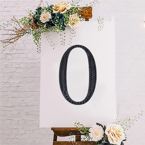"8"" Black Self-Adhesive Rhinestone Number Stickers for DIY Crafts - 0"