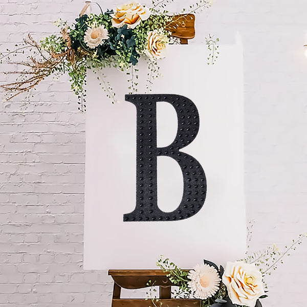 "8"" Black Self-Adhesive Rhinestone Letter Stickers, Alphabet Stickers for DIY Crafts - B"