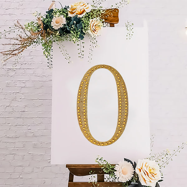 "8"" Gold Self-Adhesive Rhinestone Number Stickers for DIY Crafts - 0"