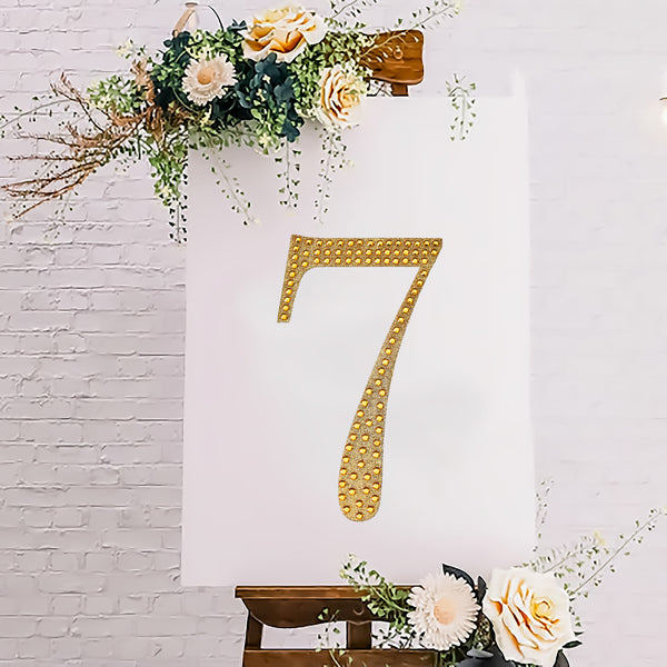 "8"" Gold Self-Adhesive Rhinestone Number Stickers for DIY Crafts - 7"