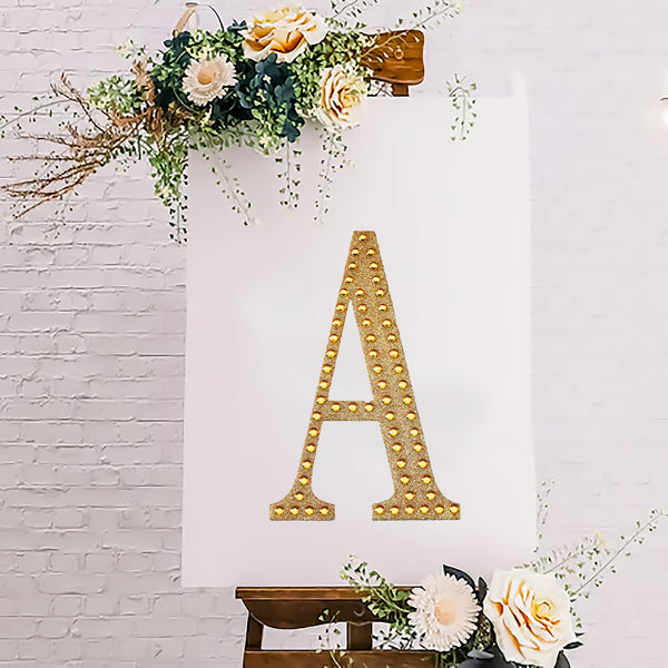 "8"" Gold Self-Adhesive Rhinestone Letter Stickers, Alphabet Stickers for DIY Crafts - A"