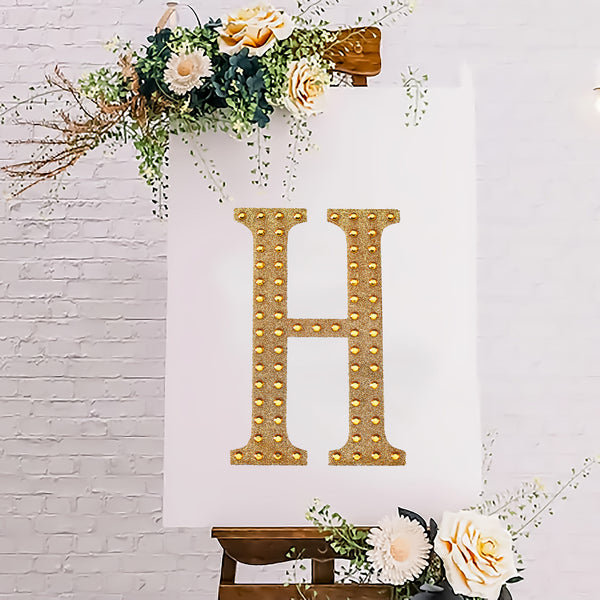 "8"" Gold Self-Adhesive Rhinestone Letter Stickers, Alphabet Stickers for DIY Crafts - H"