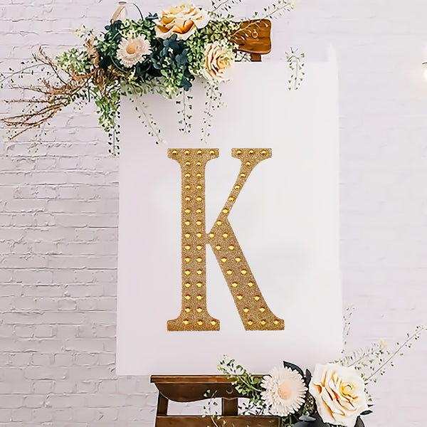 "8"" Gold Self-Adhesive Rhinestone Letter Stickers, Alphabet Stickers for DIY Crafts - K"