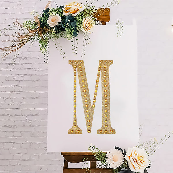 "8"" Gold Self-Adhesive Rhinestone Letter Stickers, Alphabet Stickers for DIY Crafts - M"