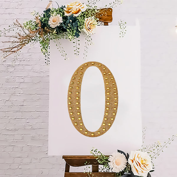 "8"" Gold Self-Adhesive Rhinestone Letter Stickers, Alphabet Stickers for DIY Crafts - O"