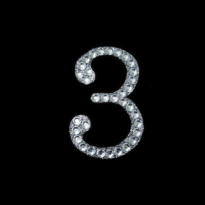 Glittered Number Rhinestones - 3 - Set Of 10
