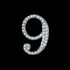 Glittered Number Rhinestones - 9 - Set Of 10