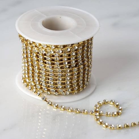 10 Yards | 3mm Gold Diamond Chain Roll | Rhinestone Ribbon DIY Decoration