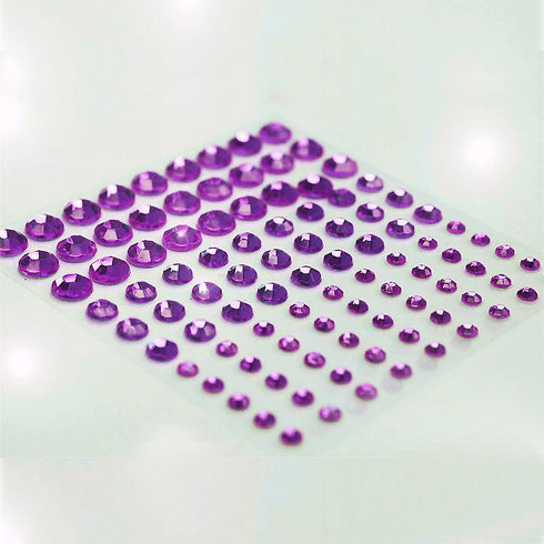 594 Pcs Multi-sized Purple Rhinestone Stickers