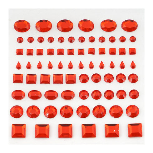 510 Pcs Multi Shaped Red Diamond Rhinestone Stickers