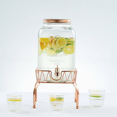 8 Liter Mason Jar Glass Beverage Dispenser with Spigot, Metal Lid and Gold Stand