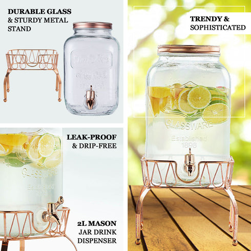 Glass Beverage Dispenser with Spigot, Metal Lid and One Gold Stand - 2 Gallon