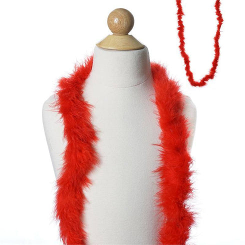 Deluxe Marabou Ostrich Feather Boa-Red-2 Yards