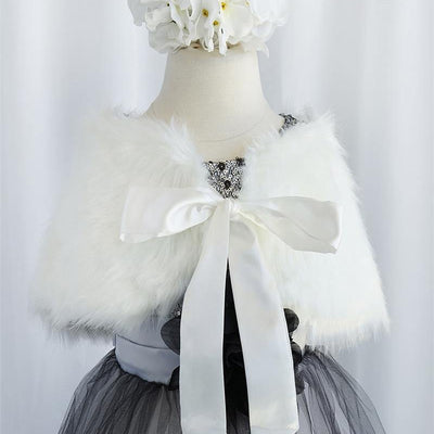 RIBBON BOW SHOULDER WRAP SOFT FAUX FUR SHAWL - Ivory