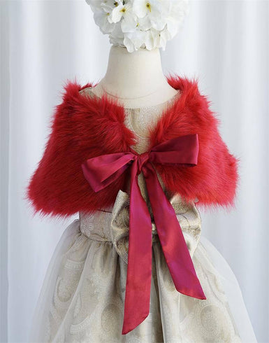 RIBBON BOW SHOULDER WRAP SOFT FAUX FUR SHAWL - Burgundy