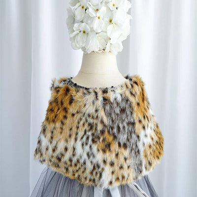 RIBBON BOW SHOULDER WRAP SOFT FAUX FUR SHAWL - Black / Gold