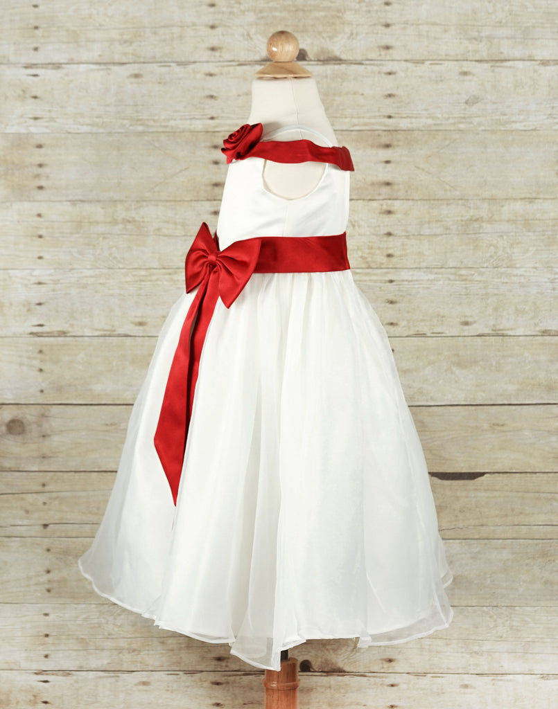ed19fdf7e ... Stunning Ruby Red Sash and Bow Flower Girl Tulle Dress - Red