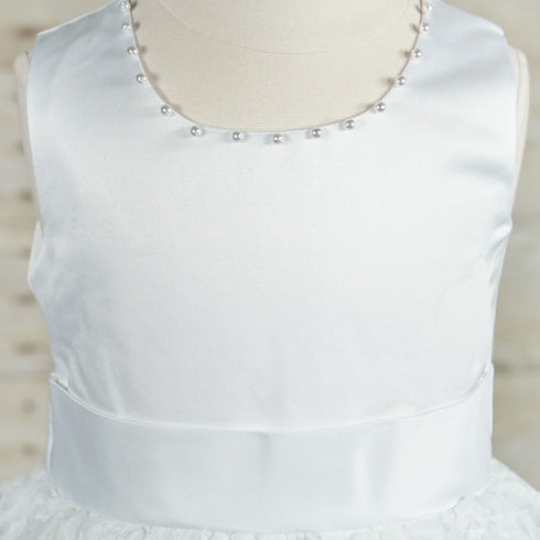 Angelic White Satin and Rosette Dress