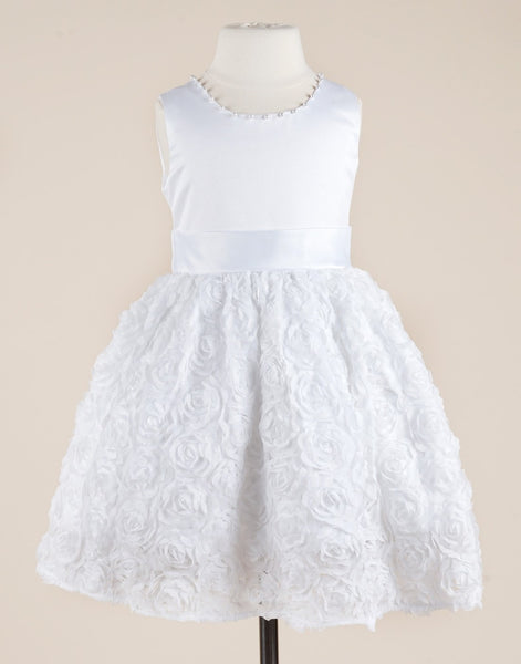 White Satin and Lace Tulle Flower Girl Wedding Dress Party Dress Special Occasion Dress