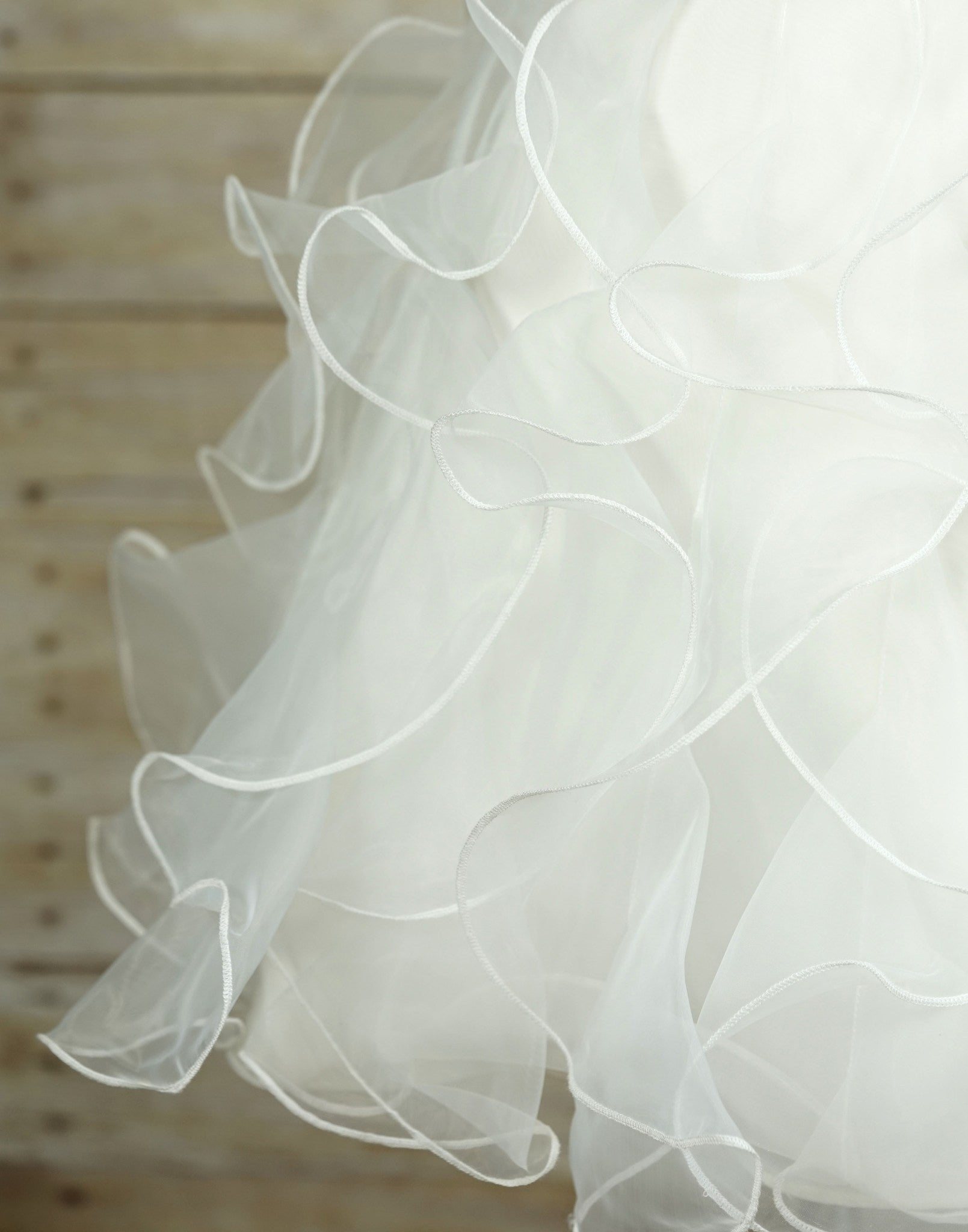 Ruffled Organza Skirt With Embroidered And Beaded Bodice: Appealing White Ruffled Organza Dress
