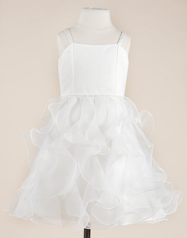 Appealing White Ruffled Organza Dress
