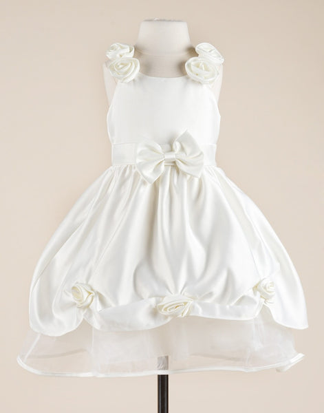 White Floriated Taffeta Flower Girl Wedding Dress Party Dress Special Occasion Dress