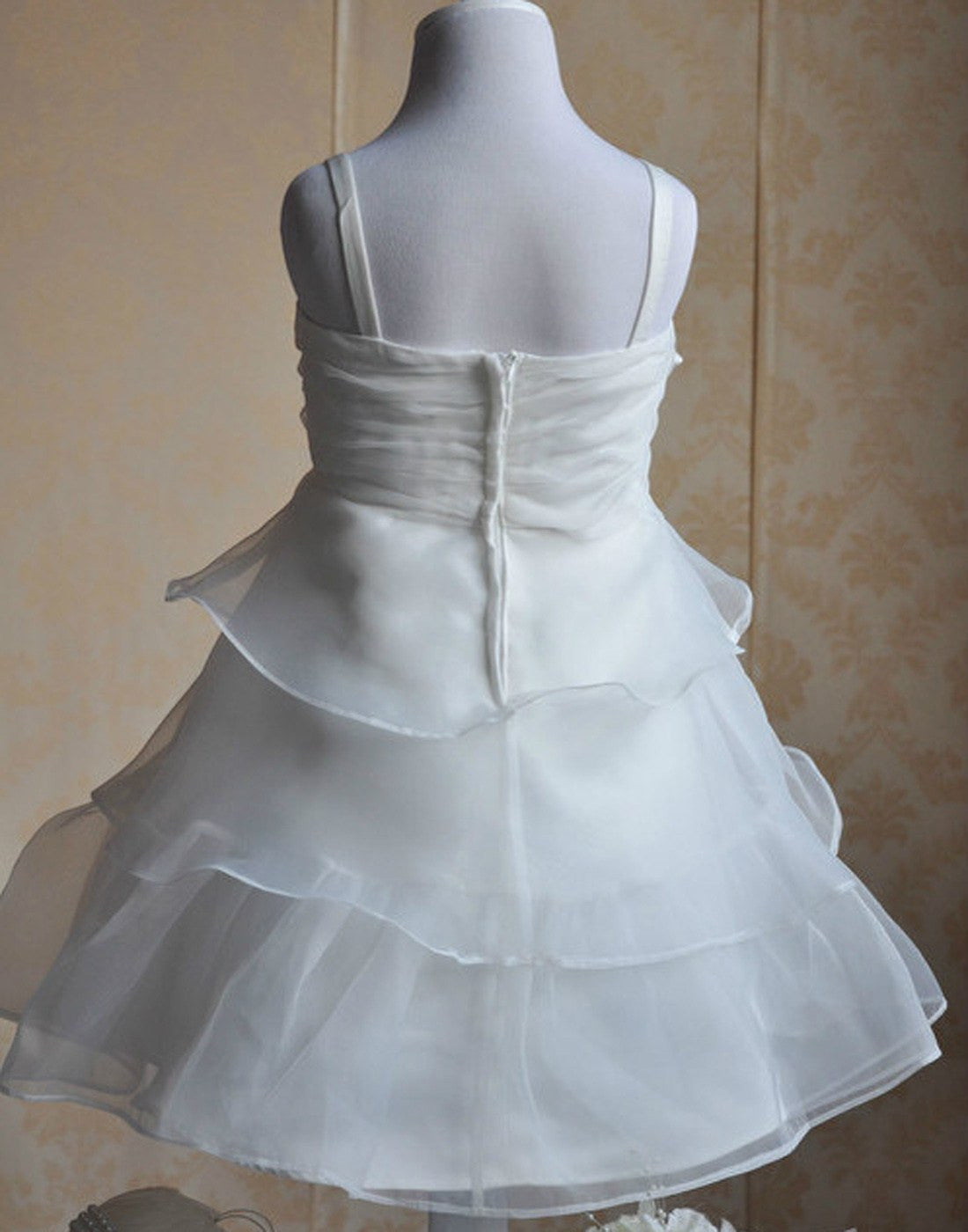 Dazzling White Net and Satin Pleated Dress - White | eFavorMart