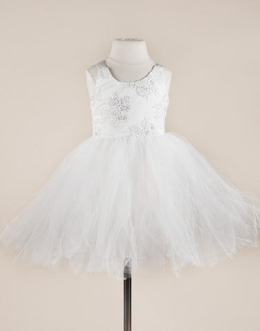 Cinderella White Embellished Tutu Dress - White