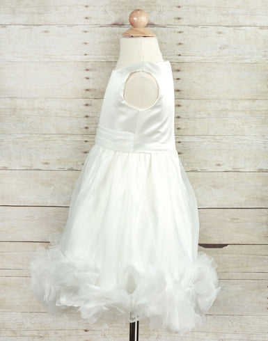 Marvelous Taffeta and Flounced Mesh Flower Girl Dress - Ivory