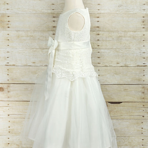 Dazzling Lace and Mesh Flower Girl Dress - White
