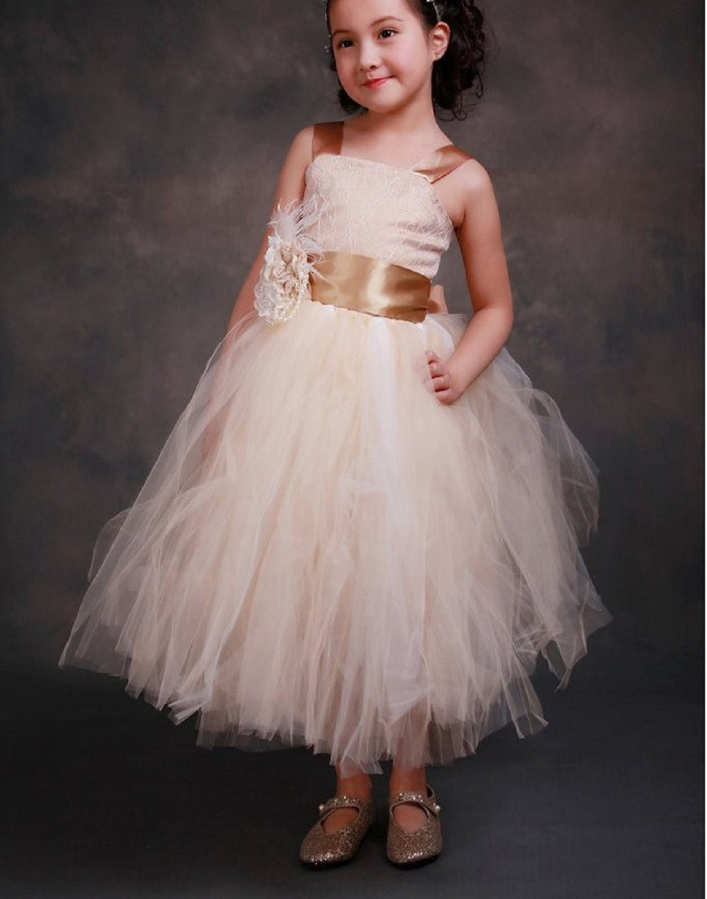 Fairy Tutu Flower Girl Dress Ivory Brown