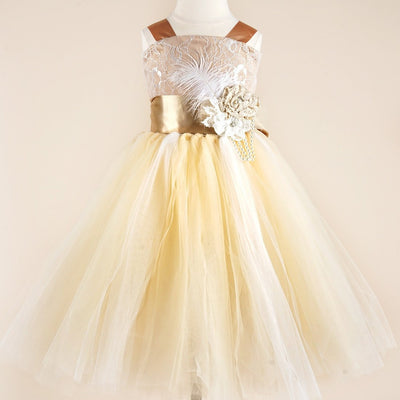 debc39e54 Fairy Tutu Flower Girl Dress - Ivory / Brown | eFavorMart