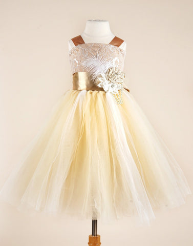 Fairy Tutu Flower Girl Dress - Ivory / Brown