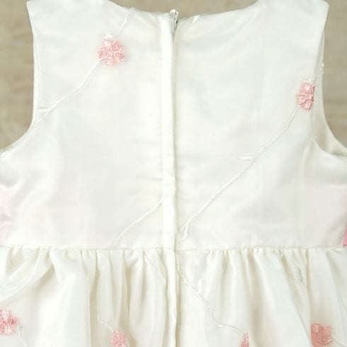 Ivory and Pink Floral Pleated Flower Girl Dress
