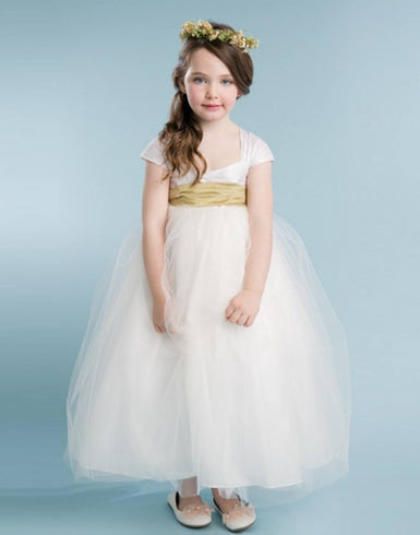 Glistening Satin Bodice and Tulle Overlay Skirt Dress With Pearl Belt - Ivory