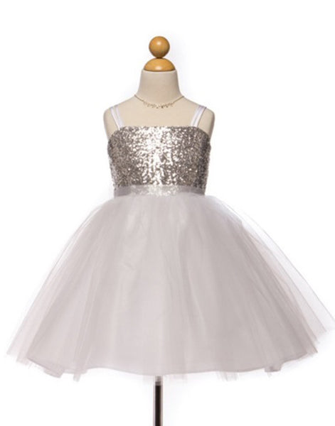 Flower Girl Dress Sequined Bodice and Tulle Overlay Skirt Silver Party Dress Special Occasion Dress