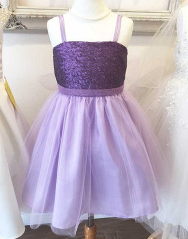 Twinkling Sequined Bodice and Tulle Overlay Skirt Dress - Lavender