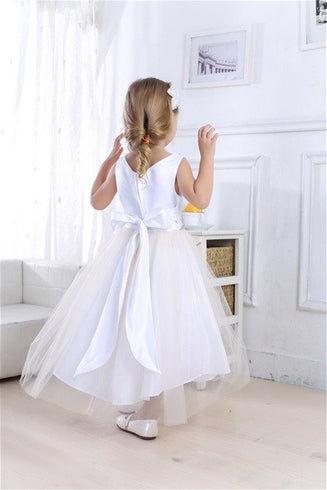 Impressive Satin & Tulle Dress with Rhinestone Gem Neckline & Belt - White