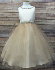 Impressive Satin & Tulle Dress with Rhinestone Gem Neckline & Belt - Champagne