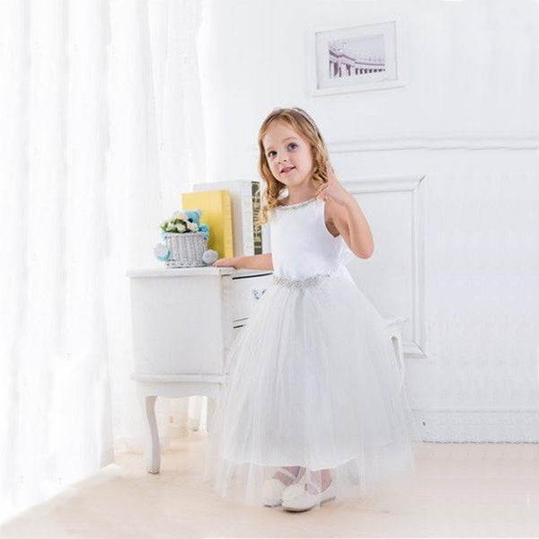 Flower Girl Dress Satin Dress with Rhinestone Gem Neckline BeltWhite Party Dress Special Occasion Dress