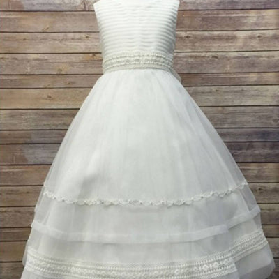 Ivory Striped Organza and Beaded Lace Trim Dress - White