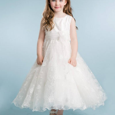 5713fae14d4b Ivory Floral Embroidered Organza Overlay Dress with Scallop Hemline - White