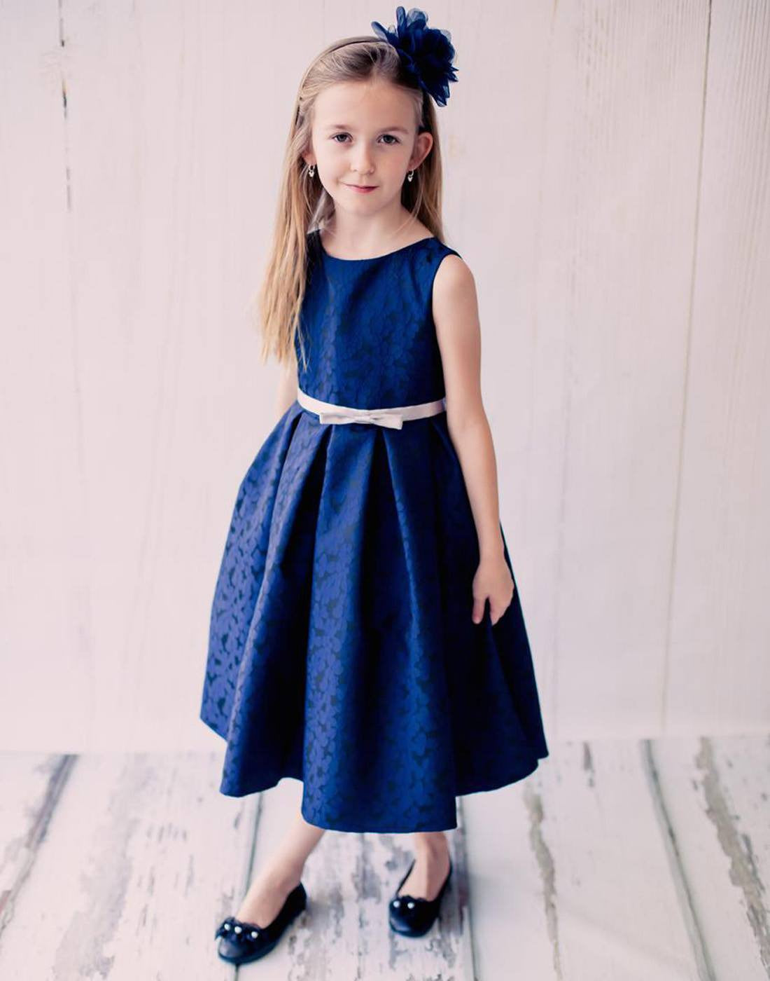 Blossomy floral print flower girl dress navy blue efavormart blossomy floral print flower girl dress navy blue izmirmasajfo
