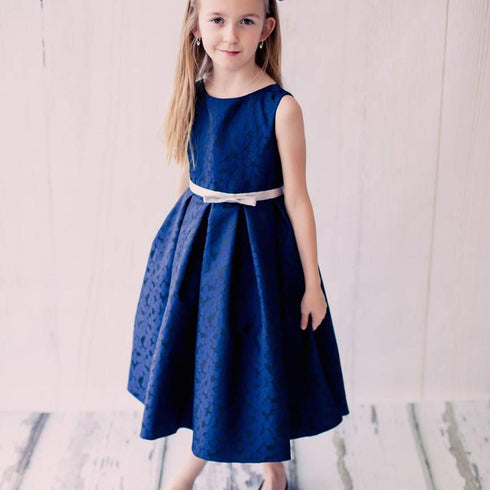 Blossomy Floral Print Flower Girl Dress - Navy Blue