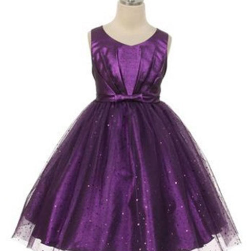 Pleated Satin Bodice and Silver Sequin Sprinkled Tulle Overlay Dress - Purple