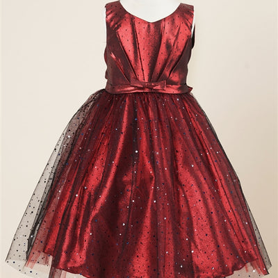 aed0f148e7bd Pleated Satin Bodice and Silver Sequin Sprinkled Tulle Overlay Dress -  Burgundy