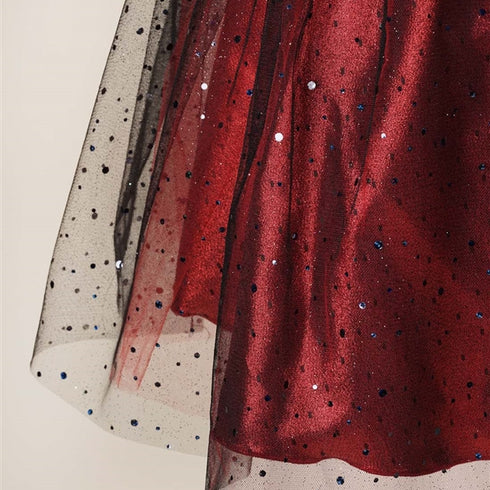 Pleated Satin Bodice and Silver Sequin Sprinkled Tulle Overlay Dress - Burgundy