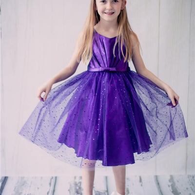 01c2a4740bb Pleated Satin Bodice and Silver Sequin Sprinkled Tulle Overlay Dress -  Purple