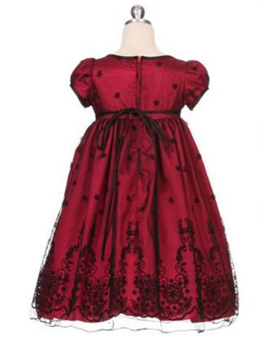 Taffeta and Floral Embroidered Tulle Overlay Dress - Red